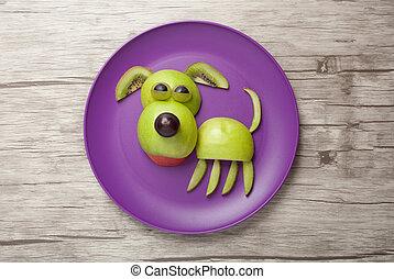 perro, hecho, de, frutas, en, púrpura, placa,