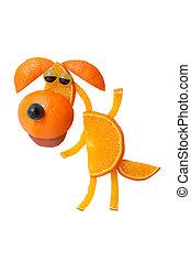 divertido, bailando, perro, hecho, de, naranja, y, uva,