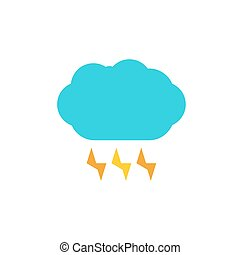 blue cloud with lightning color flat icon - Weather...