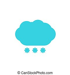 blue cloud snow colored flat icon - Weather forecast, blue...