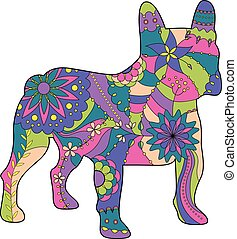 French bulldog painted silhouette - Vector french bulldog...