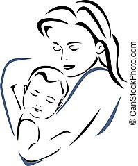 Baby and mother. Outline drawing.
