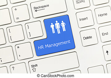 White conceptual keyboard - HR Management (blue key) -...