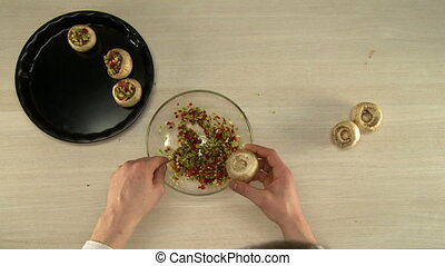 Top view of chef stuffed mushrooms before baking - First...