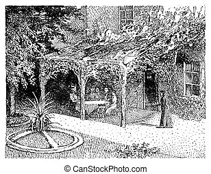 Vintage illustration, house with garden and pergola and...