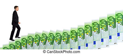 Businessman climbing up stairs of money - Isolated concept...