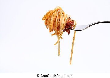 Spaghetti bolognese - Spaghetti with bolognese sauce hanging...