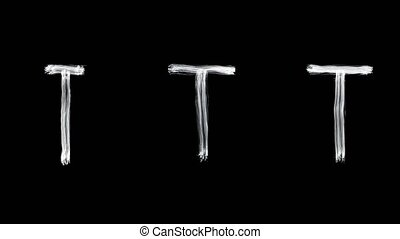 Created by light alphabet over black background. T. UHD