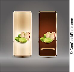 Vector set of labels with pistachios