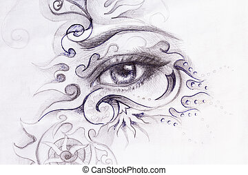 woman eye with ornament, pencil drawing, eye contact.