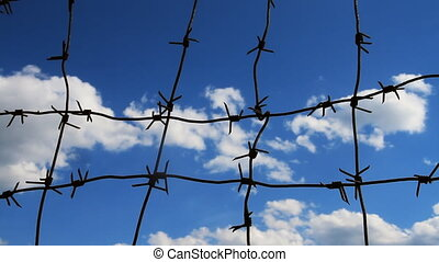 Sky and Barbed Wire - Barbed wire on the blue sky background...