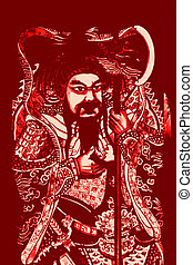 Kuan Kung Chinese Mythical Hero in Red