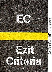 Business Acronym EC Exit Criteria - Concept image of...