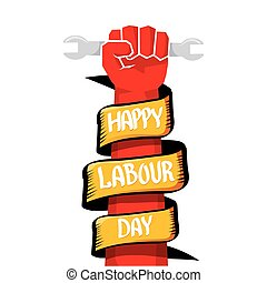 vector happy labour day poster - 1 may - labour day. vector...