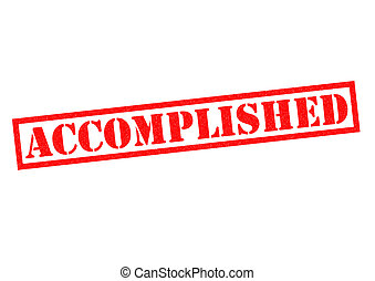 ACCOMPLISHED red Rubber Stamp over a white background.