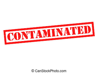 CONTAMINATED red Rubber Stamp over a white background