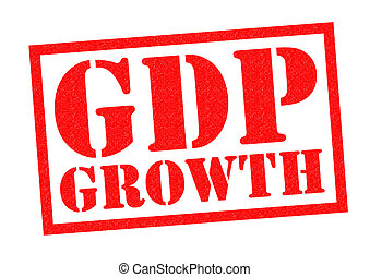 GDP GROWTH red Rubber Stamp over a white background