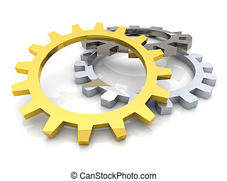 Cogwheels - 3D rendered Illustration. Isolated on white.