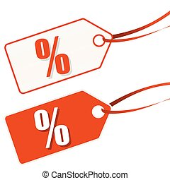 hangtag white-red SALE - two white and red hang tags with...