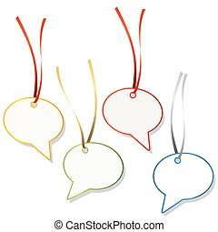 speech bubble hangtags - four speech bubble hang tags with...