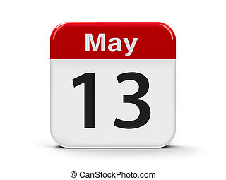 13th May - Calendar web button - The Thirteenth of May,...