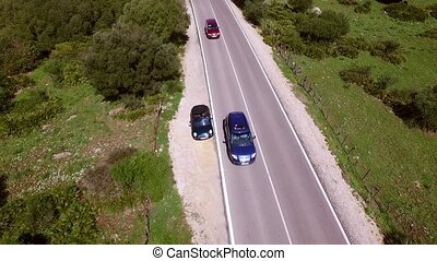 Aerial View From Above On The Road With Cars - Breakdown...