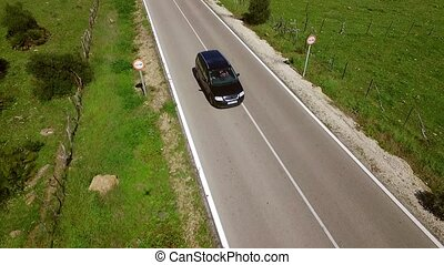 Aerial View Of The Road - Camera follows from above the road...