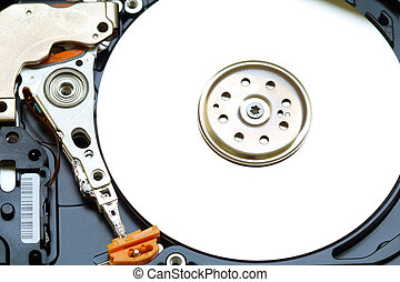 Open hard drive Close-up