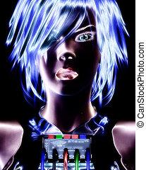 3D illustration, 3d Rendering of a digital Female