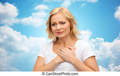 unhappy woman suffering from heartache - people, healthcare,...