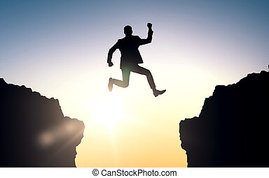 happy businessman jumping between rocks - business, people,...