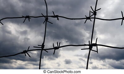 Barbed wire on the Grey Sky Background