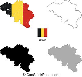 Belgium country black silhouette and with flag on background