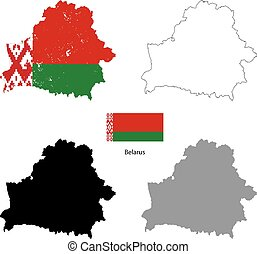 Belarus country black silhouette and with flag on background
