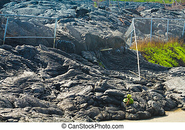 Advancing lava flow through the fence in the town of Pahoa,...