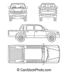 car pickup truck 5 passengers vector illustration - Pickup...