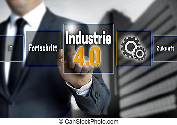 Industrie 4.0 in german industry touchscreen is operated by...