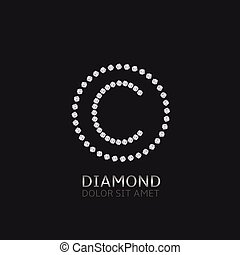 C letter with diamonds