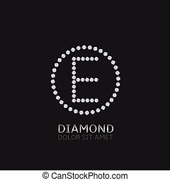 E letter with diamonds