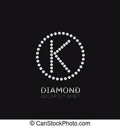 K letter with diamonds