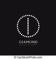 I letter with diamonds