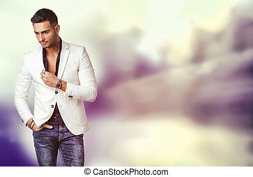 Young man in blue shirt and white jacket - Handsome young...