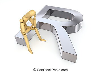 Lay Figure Sitting on Rand Symbol - lay figure sitting...