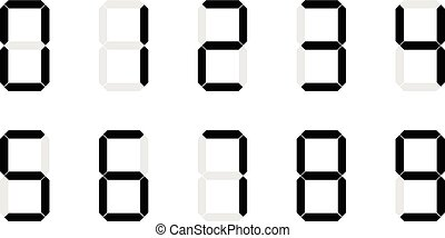 Set of digital number signs made up from seven segments on...