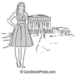 Nice Girl in Front of Temple in Agrigento, Sicily. Vintage...