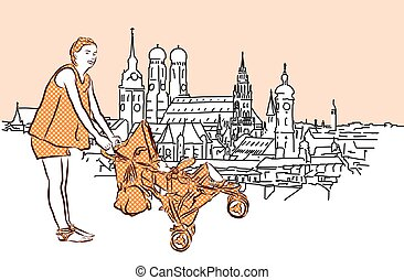 Mother with Buggy in Munich, Vector Hand Drawn Sketch.