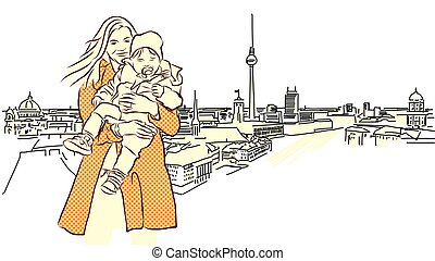 Woman with Child in Front of Berlin Panorama View.