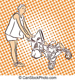 Mother have Fun with Buggy and Child in Holidays.