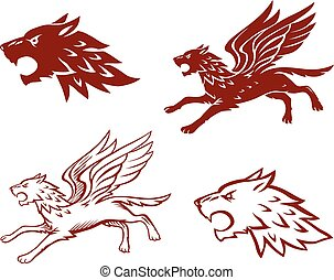Winged Wolf Illustration
