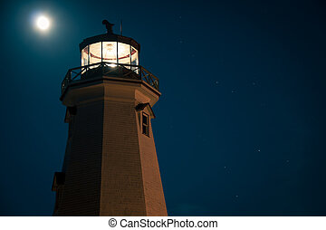 lighthouse and moon - Glowing lighthouse in prince edward...